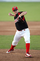 Batavia Muckdogs pitcher Nick McCully (13) delivers a pitch during a game vs. the Jamestown Jammers at Dwyer Stadium in Batavia, New York July 17, 2010.   Jamestown defeated Batavia 5-2.  Photo By Mike Janes/Four Seam Images