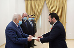 Palestinian President Mahmoud Abbas receives Credentials of the Chilean Ambassador at Palestine in the West Bank city of Ramallah on June 16, 2021. Photo by Thaer Ganaim