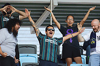 ST PAUL, MN - AUGUST 14: Los Angeles Galaxy fans celebrate a goal during a game between Los Angeles Galaxy and Minnesota United FC at Allianz Field on August 14, 2021 in St Paul, Minnesota.