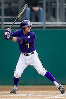 Washington Huskies outfielder Braden Bishop (7) at bat during the NCAA baseball game against the Michigan Wolverines on February 16, 2014 at Bobcat Ballpark in San Marcos, Texas. The game went eight innings, before travel curfew ended the contest in a 7-7 tie. (Andrew Woolley/Four Seam Images)