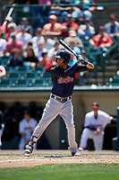 Scranton/Wilkes-Barre RailRiders center fielder Mason Williams (9) bats during a game against the Rochester Red Wings on June 7, 2017 at Frontier Field in Rochester, New York.  Scranton defeated Rochester 5-1.  (Mike Janes/Four Seam Images)