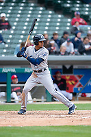 Columbus Clippers center fielder Oscar Mercado (2) during an International League game against the Indianapolis Indians on April 30, 2019 at Victory Field in Indianapolis, Indiana. Columbus defeated Indianapolis 7-6. (Zachary Lucy/Four Seam Images)