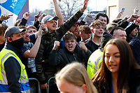 1st May 2021; Weston Homes Stadium, Peterborough, Cambridgeshire, England; English Football League One Football, Peterborough United versus Lincoln City; Peterborough United fans celebrate outside The Weston Homes Stadium after Peterborough United win promotion to the EFL Championship