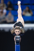 LOS ANGELES, CA - April 19, 2013:  Stanford's Amanda Spinner competes on beam during the NCAA Championships at UCLA.