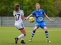 Marie Detruyer (17) of OHL and Heleen Jaques (4) of AA Gent in action during a female soccer game between Oud Heverlee Leuven and AA Gent Ladies on the 9 th matchday of play off 1 in the 2020 - 2021 season of Belgian Womens Super League , saturday 22 nd of May 2021  in Heverlee , Belgium . PHOTO SPORTPIX.BE   SPP   SEVIL OKTEM