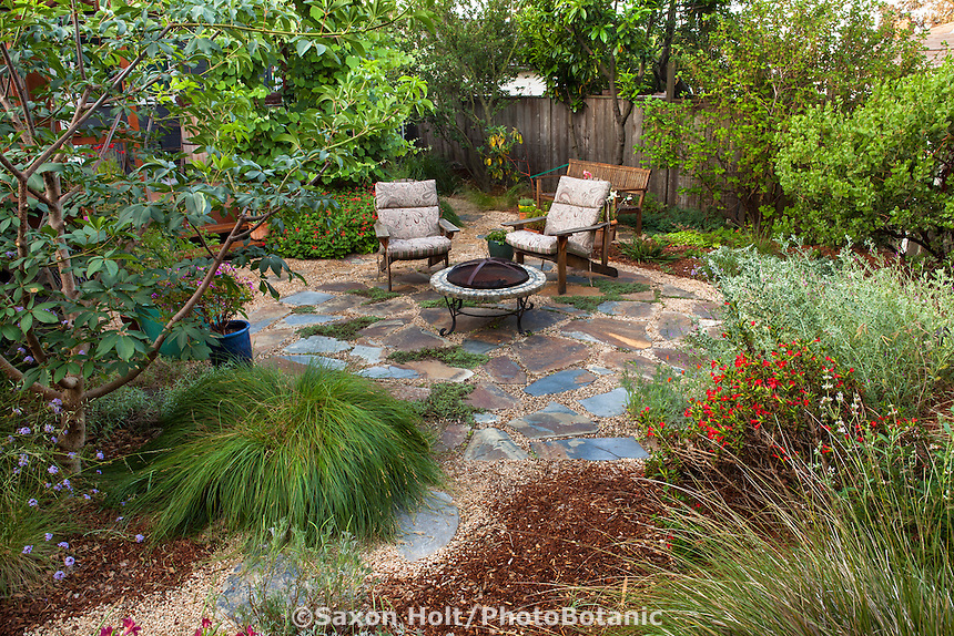 Path leading to backyard permeable patio with firepit and chairs with well mulched California native plants, Heath-Delaney garden