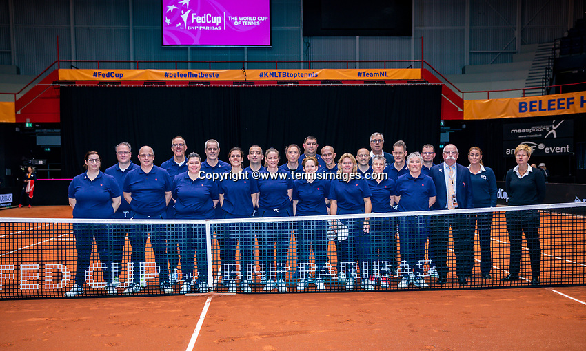Den Bosch, The Netherlands, Februari 9, 2019,  Maaspoort , FedCup  Netherlands - Canada, second match : Linespeople<br /> Photo: Tennisimages/Henk Koster