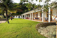 Private home in Parati Brazil. Casarao Amarilo is one of the most beautiful houses in Paraty town, only minutes walk from the historical centre. Veiw of the main house and the graden.