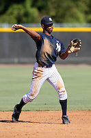 New York Yankees minor league second baseman Angelo Gumbs (48) vs. the Pittsburgh Pirates in an Instructional League game at the New York Yankees Minor League Complex in Tampa, Florida;  October 8, 2010.  Photo By Mike Janes/Four Seam Images