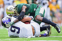 TCU wide receiver Josh Doctson (9) is brought down Baylor linebacker Grant Campbell (5) during an NCAA football game, Saturday, October 11, 2014 in Waco, Tex. Baylor defeated TCU 61-58 to remain undefeated in BIG 12 conference. (Mo Khursheed/TFV Media via AP Images)