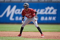 Altoona Curve Alfredo Reyes (13) leads off first base during an Eastern League game against the Erie SeaWolves and on June 4, 2019 at UPMC Park in Erie, Pennsylvania.  Altoona defeated Erie 3-0.  (Mike Janes/Four Seam Images)