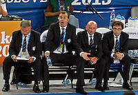 Italy`s national basketball team head coach Simone Pianigiani gestures during European basketball championship Eurobasket 2013, round 2, group F  basketball game between Italy and Spain in Stozice Arena in Ljubljana, Slovenia, on September 16. 2013. (credit: Pedja Milosavljevic  / thepedja@gmail.com / +381641260959)
