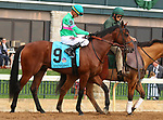 """October 07, 2018 : #9 Hide the Demon and jockey Corey Lanerie in the 1st running of The Indian Summer $200,000 """"Win and You're In Breeders' CupJuvenile Turf Sprint Division"""" for trainer Mark Casse and owner John Oxley  at Keeneland Race Course on October 07, 2018 in Lexington, KY.  Candice Chavez/ESW/CSM"""