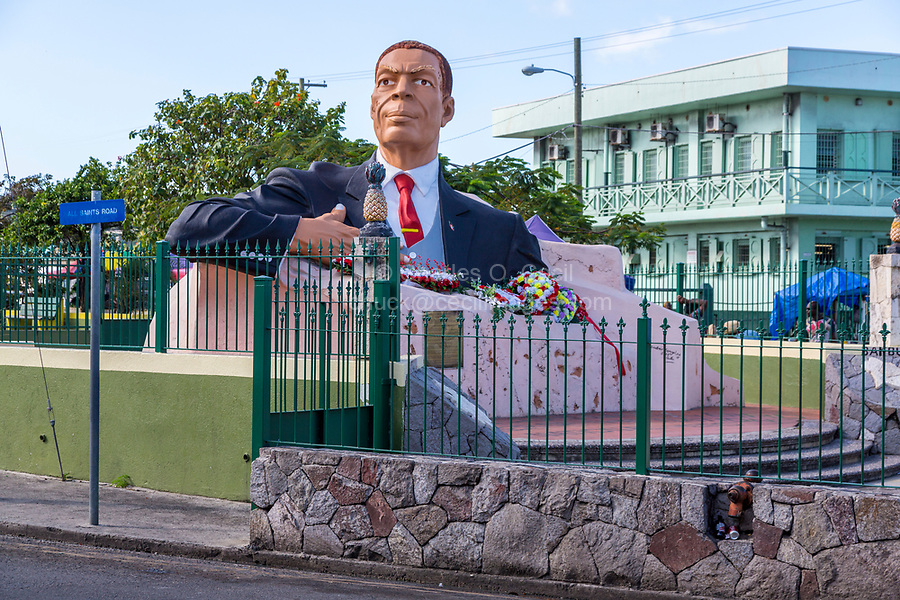 St. Johns, Antigua.  Monument to First Prime Minister, Sir Vere Cornwall Bird, Sr, Father of the Nation.