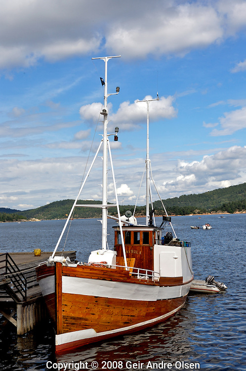 Old fishing boat in the oslofjord in Norway