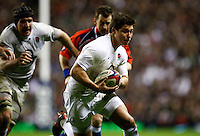 Photo: Richard Lane/Richard Lane Photography. England v Ireland. 17/03/2012. England's Ben Youngs breaks for his try.