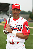 July 4th 2008:  Outfielder Arlon Quiroz (11) of the Williamsport Crosscutters, Class-A affiliate of the Philadelphia Phillies, during a game at Bowman Field in Williamsport, PA.  Photo by:  Mike Janes/Four Seam Images
