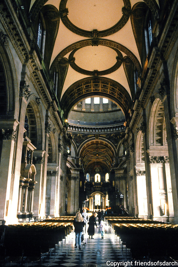 Sir Christopher Wren: St. Paul's Cathedral, Interior. 1675-1711. Looking down nave to crossing. Photo '90.