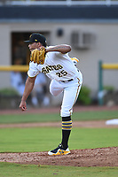 Bristol Pirates relief pitcher Luis Arrieta (25) throws to a batter during the game with the Burlington Royals at Boyce Cox Field on June 19, 2019 in Bristol, Virginia. The Royals defeated the Pirates 1-0. (Tracy Proffitt/Four Seam Images)