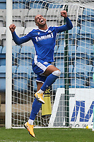 Jordan Graham leaps into the air to celebrate scoring Gillingham's third goal during Gillingham vs Oxford United, Sky Bet EFL League 1 Football at the MEMS Priestfield Stadium on 10th October 2020