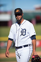 Mesa Solar Sox relief pitcher Eduardo Jimenez (66), of the Detroit Tigers organization, walks off the field between innings of an Arizona Fall League game against the Salt River Rafters at Sloan Park on November 9, 2018 in Mesa, Arizona. Mesa defeated Salt River 5-4. (Zachary Lucy/Four Seam Images)