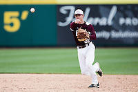 Travis McComack #31 of the Missouri State Bears throws to first base during a game against the Wichita State Shockers at Hammons Field on May 5, 2013 in Springfield, Missouri. (David Welker/Four Seam Images)