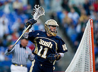 Neal Hicks (11) of Notre Dame celebrates a goal during the Face-Off Classic in at M&T Stadium in Baltimore, MD