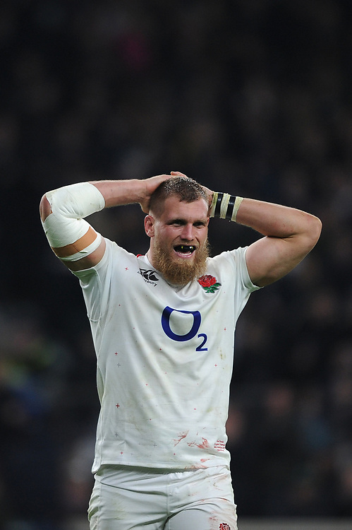 Brad Shields of England looks pleased after winning the Quilter International match between England and Australia at Twickenham Stadium on Saturday 24th November 2018 (Photo by Rob Munro/Stewart Communications)