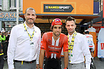 Michael Matthews (AUS) Team Sunweb mingles with guests including Jerome Neuville in the Tour Village before Stage 3 of the 2019 Tour de France running 215km from Binche, Belgium to Epernay, France. 8th July 2019.<br /> Picture: ASO/Olivier Chabe | Cyclefile<br /> All photos usage must carry mandatory copyright credit (© Cyclefile | ASO/Olivier Chabe)