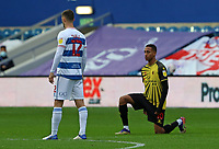 Dominic Ball of Queens Park Rangers stands as Joao Pedro of Watford takes the knee during Queens Park Rangers vs Watford, Sky Bet EFL Championship Football at The Kiyan Prince Foundation Stadium on 21st November 2020