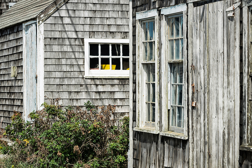Rustic fishermans shack detail, Menemsha, Chilmark, Martha's Vineyard, Massachusetts, USA
