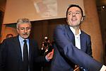 """MATTEO RENZI CON MASSIMO D'ALEMA AL TEMPIO D'ADRIANO PRESENTAZIONE LIBRO """"NON SOLO EURO"""" ROMA 2014"""