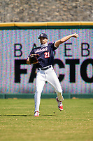 Outfielder Camden Hayslip (21) throws the ball in during the Baseball Factory All-Star Classic at Dr. Pepper Ballpark on October 4, 2020 in Frisco, Texas.  Camden Hayslip (21), a resident of Lebanon, Tennessee, attends Friendship Christian Academy.  (Ken Murphy/Four Seam Images)