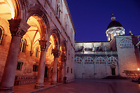 The Rectors Palace and Cathedral of the Assumption of the Virgin Mary, illuminated at night.Dubrovnik Old Town. Croatia.