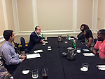 Khan Academy founder Salman Khan and CollegeBoard President David Coleman meet with SAT superstars at the Council of the Great City Schools in Miami.
