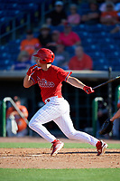 Philadelphia Phillies left fielder Jake Scheiner (84) hits a single during a Grapefruit League Spring Training game against the Baltimore Orioles on February 28, 2019 at Spectrum Field in Clearwater, Florida.  Orioles tied the Phillies 5-5.  (Mike Janes/Four Seam Images)