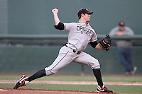 Sam Gaviglio #32 of the Oregon State Beavers pitches against the UCLA Bruins at Jackie Robinson Stadium in Los Angeles,California on April 29, 2011. Photo by Larry Goren/Four Seam Images