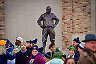 October 23, 2021; Crowd near the Knute Rockne statue on a football game day, 2021. (photo by Matt Cashore)