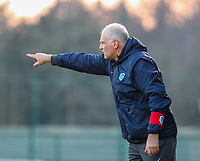Head coach Guido Brepoels of KRC Genk points during a female soccer game between Oud Heverlee Leuven and Racing Genk on the 14 th matchday of the 2020 - 2021 season of Belgian Womens Super League , sunday 28 th of February 2021  in Heverlee , Belgium . PHOTO SPORTPIX.BE | SPP | SEVIL OKTEM