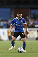 SAN JOSE, CA - AUGUST 13: Cristian Espinoza #10 of the San Jose Earthquakes during a game between Vancouver Whitecaps and San Jose Earthquakes at PayPal Park on August 13, 2021 in San Jose, California.