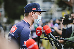 Mathieu Van Der Poel (NED) Aplecin-Fenix speaks to media before Stage 2 of the 2021 Tour de France, running 183.5km from Perros-Guirec to Mur-de-Bretagne Guerledan, France. 27th June 2021.  <br /> Picture: A.S.O./Pauline Ballet   Cyclefile<br /> <br /> All photos usage must carry mandatory copyright credit (© Cyclefile   A.S.O./Pauline Ballet)