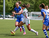 Lobke Loonen (19) of AA Gent and Luna Vanzeir (10) of OHL in action during a female soccer game between Oud Heverlee Leuven and AA Gent Ladies on the 9 th matchday of play off 1 in the 2020 - 2021 season of Belgian Womens Super League , saturday 22 nd of May 2021  in Heverlee , Belgium . PHOTO SPORTPIX.BE | SPP | SEVIL OKTEM