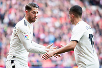 Sergio Ramos and Lucas Vazquez of Real Madrid celebrating a goal during La Liga match between Atletico de Madrid and Real Madrid at Wanda Metropolitano in Madrid Spain. February 09, 2018. (ALTERPHOTOS/Borja B.Hojas)<br /> Liga Campionato Spagna 2018/2019<br /> Foto Alterphotos / Insidefoto <br /> ITALY ONLY