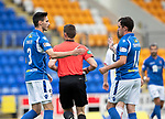 St Johnstone v Brechin….24.07.19      McDiarmid Park     Betfred Cup       <br />Scott Tanser celebrates his penalty with Danny Swanson<br />Picture by Graeme Hart. <br />Copyright Perthshire Picture Agency<br />Tel: 01738 623350  Mobile: 07990 594431