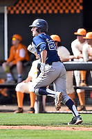 UC Irvine Anteaters designated hitter Grant Palmer (27) runs to first during game one of a double header against the Tennessee Volunteers at Lindsey Nelson Stadium on March 12, 2016 in Knoxville, Tennessee. The Volunteers defeated the Anteaters 14-4. (Tony Farlow/Four Seam Images)