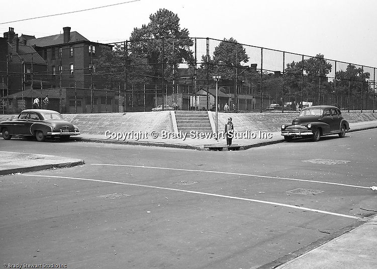 Pittsburgh PA:  Location photography of another Railway Express accident scene for attorney's Reed Smith, Shaw, and McClay.  View of the Conroy Junior High playground at the corner of  Page and Fulton streets on the North Side of Pittsburgh.