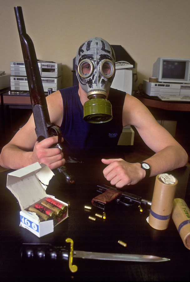 Moscow, Russia.&#xA;Russia mafia member at the offices of a computer firm where he provides security.<br />