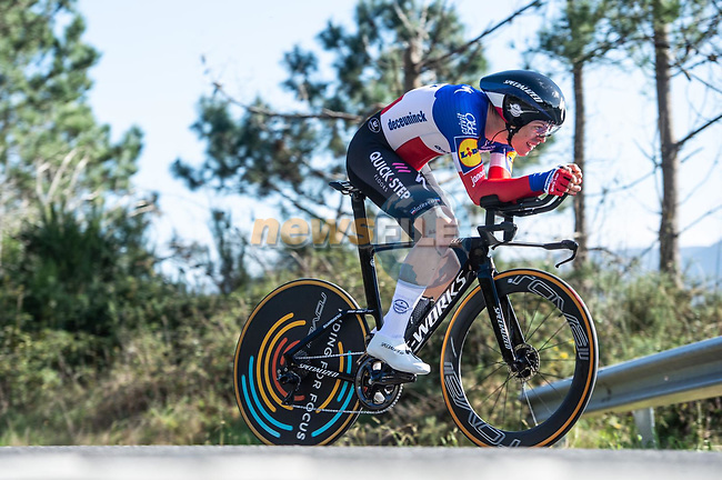 French Champion Remi Cavagna (FRA) Deceuninck-Quick Step in action during Stage 13 of the Vuelta Espana 2020 an individual time trial running 33.7km from Muros to Mirador de Ézaro. Dumbría, Spain. 3rd November 2020. <br /> Picture: Unipublic/Charly Lopez | Cyclefile<br /> <br /> All photos usage must carry mandatory copyright credit (© Cyclefile | Unipublic/Charly Lopez)