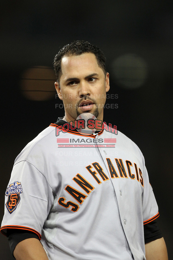 San Francisco Giants outfielder Carlos Beltran #15 during a game against the Los Angeles Dodgers at Dodger Stadium on September 20, 2011 in Los Angeles,California. Los Angeles defeated San Francisco 2-1.(Larry Goren/Four Seam Images)