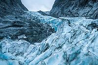 Looking towards Defiance Icefall on Franz Josef Glacier at twilight, Westland National Park, West Coast, World Heritage, South Island, New Zealand